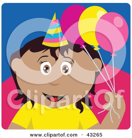 Clipart Illustration of a Hispanic Birthday Girl Holding Balloons by Dennis Holmes Designs