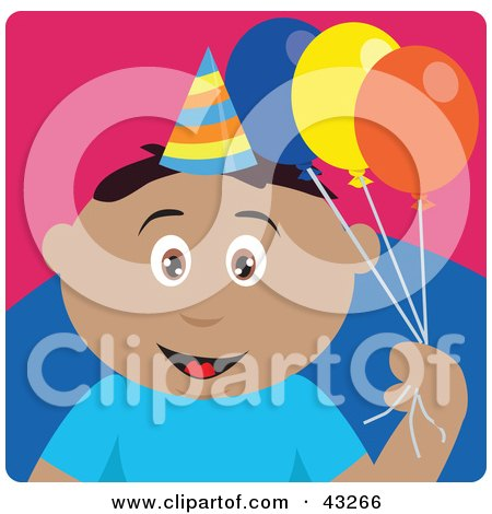 Clipart Illustration of a Hispanic Birthday Boy Holding Balloons by Dennis Holmes Designs