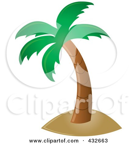 Royalty-Free (RF) Clipart Illustration of a Perfect Tropical Palm Tree by Pams Clipart