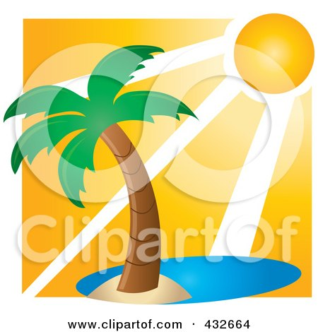 Royalty-Free (RF) Clipart Illustration of a Sun Shining Down On A Lone Palm Tree On An Island by Pams Clipart