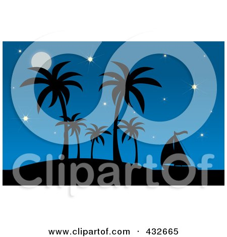 Royalty-Free (RF) Clipart Illustration of a Silhouetted Sailboat By A Tropical Island With Palm Trees Against A Starry Blue Sky by Pams Clipart