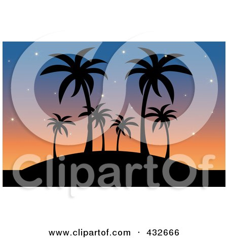 Royalty-Free (RF) Clipart Illustration of a Silhouetted Hill With Palm Trees Against A Sunset Sky by Pams Clipart