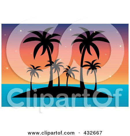 Royalty-Free (RF) Clipart Illustration of a Silhouetted Tropical Island With Palm Trees Against A Colorful Sunset by Pams Clipart
