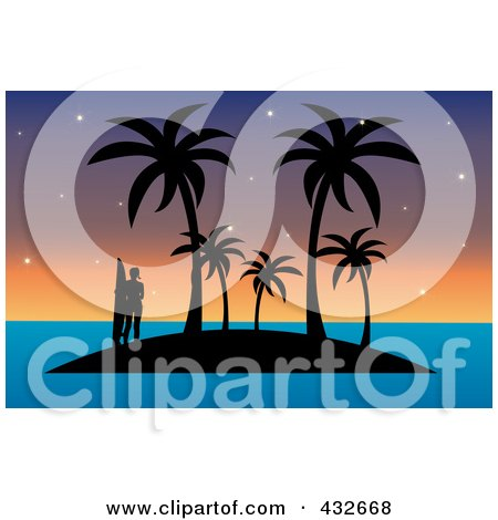 Royalty-Free (RF) Clipart Illustration of a Silhouetted Surfer Tropical Island With Palm Trees Against A Sunset Sky by Pams Clipart