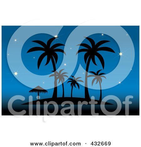 Royalty-Free (RF) Clip Art Illustration of a Silhouetted Tropical Island With Palm Trees And An Umbrella Against A Starry Blue Sky by Pams Clipart
