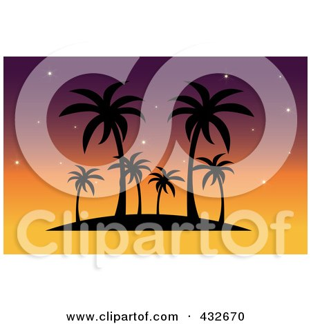 Royalty-Free (RF) Clipart Illustration of a Silhouetted Tropical Island With Palm Trees Against A Sunset Sky by Pams Clipart