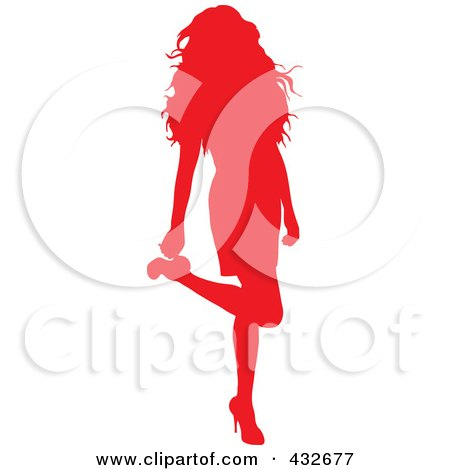 Royalty-Free (RF) Clipart Illustration of a Red Silhouetted Sexy Woman Lifting Her Leg And Touching Her Heel by Pams Clipart