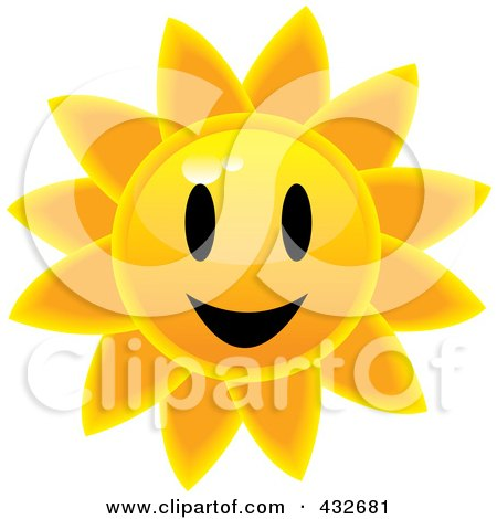Royalty-Free (RF) Clipart Illustration of a Happy Glossy Summer Sun Face by Pams Clipart