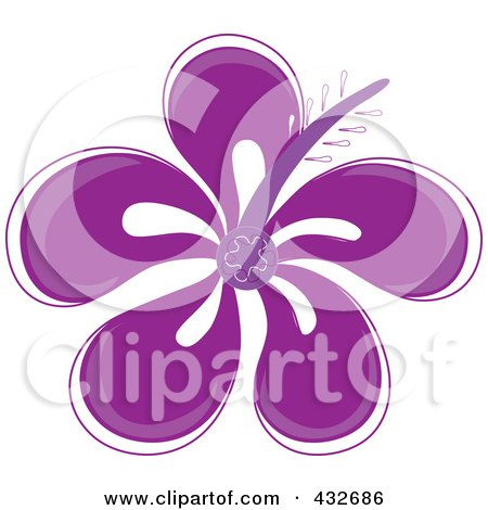 Royalty-Free (RF) Clipart Illustration of a Pretty Purple Hibiscus Flower Logo by Pams Clipart