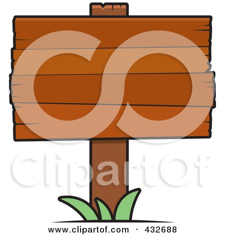 Royalty-Free (RF) Clipart Illustration of a Blank Wooden Plank Sign With Grass by Cory Thoman