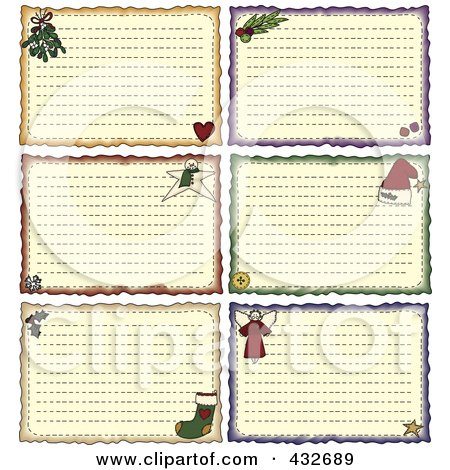 Royalty-Free (RF) Clipart Illustration of a Digital Collage Of Christmas Folk Art Styled Holiday Note Or Recipe Cards by inkgraphics