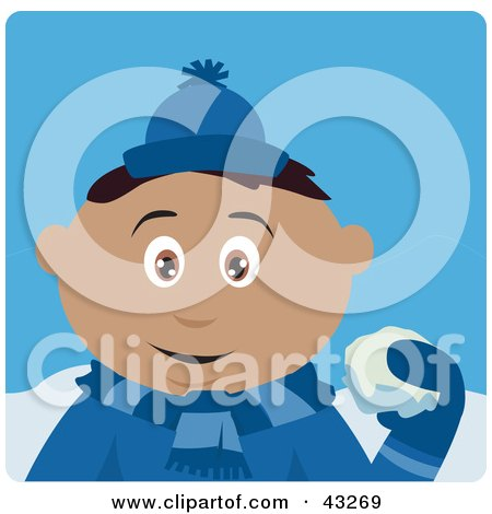 Clipart Illustration of a Hispanic Boy Throwing Snowballs by Dennis Holmes Designs