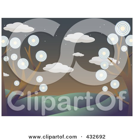 Royalty-Free (RF) Clipart Illustration of a Landscape Of Trees With Circle Foliage In A Hilly Landscape At Dusk by mheld