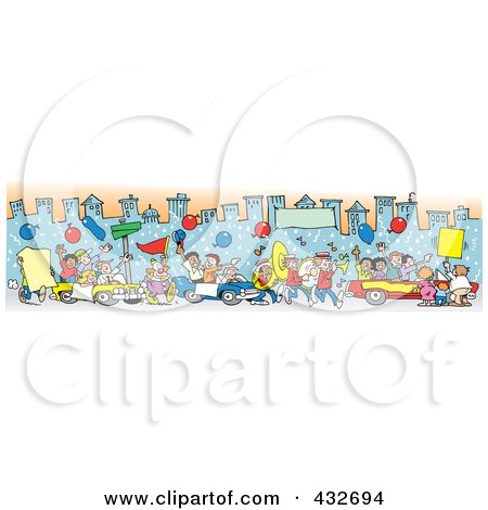 Royalty-Free (RF) Clipart Illustration of a Downtown Parade Of People, Balloons And Cars by Johnny Sajem