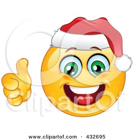 Royalty-Free (RF) Clipart Illustration of a Cheerful Xmas Emoticon Wearing A Santa Hat And Holding A Thumb Up by yayayoyo