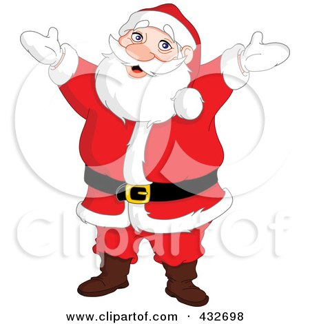 Royalty-Free (RF) Clipart Illustration of a Cheerful Reindeer Standing With His Arms Open by yayayoyo