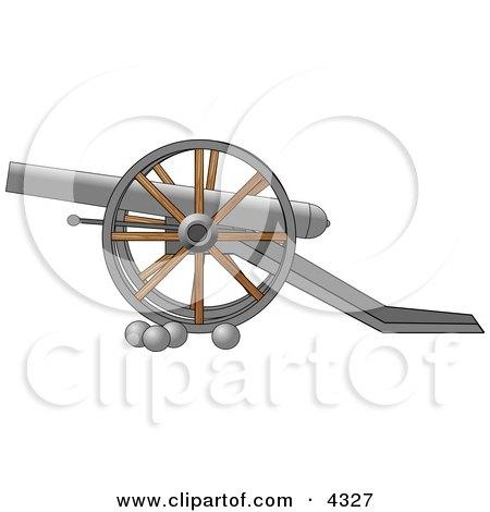Civil War Cannon and Artillery Balls Clipart by djart
