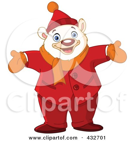 Royalty-Free (RF) Clipart Illustration of a Happy Polar Bear Standing With His Arms Open by yayayoyo