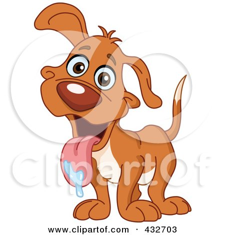 Royalty-Free (RF) Clipart Illustration of a Happy Dog With Drool On His Tongue by yayayoyo