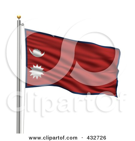 Royalty-Free (RF) Clipart Illustration of a 3d Flag Of Nepal Waving On A Pole by stockillustrations