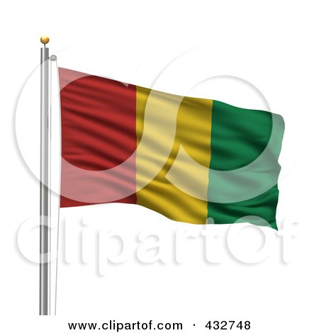 Royalty-Free (RF) Clipart Illustration of The Flag Of Guinea Waving On A Pole by stockillustrations