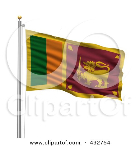 Royalty-Free (RF) Clipart Illustration of The Flag Of Sri Lanka Waving On A Pole by stockillustrations