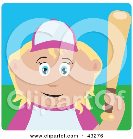 Clipart Illustration of a Blond Caucasian Girl Batting During A Baseball Game by Dennis Holmes Designs