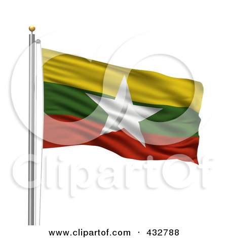 Royalty-Free (RF) Clipart Illustration of a 3d Flag Of Myanmar Waving On A Pole by stockillustrations