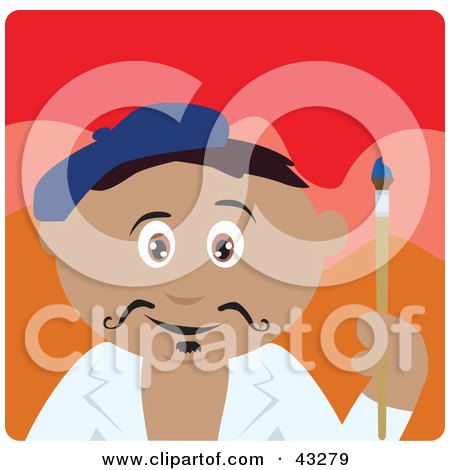 Clipart Illustration of a Hispanic Artist Boy Painting A Portrait by Dennis Holmes Designs