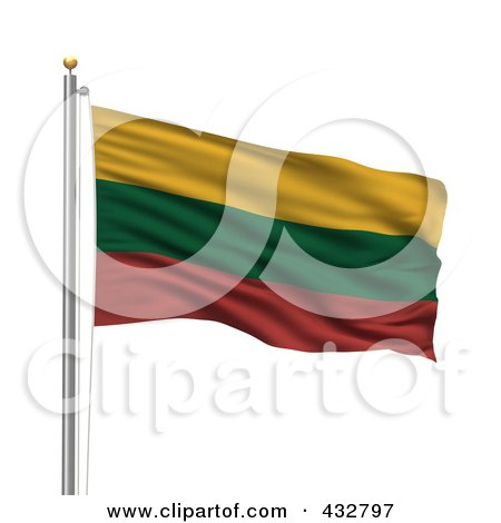 Royalty-Free (RF) Clipart Illustration of a 3d Flag Of Lithuania Waving On A Pole by stockillustrations