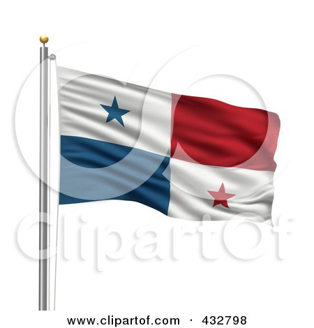 royalty free rf clipart illustration of a 3d flag of panama waving on a pole by. Black Bedroom Furniture Sets. Home Design Ideas