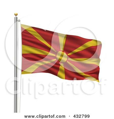 Royalty-Free (RF) Clipart Illustration of a 3d Flag Of Macedonia Waving On A Pole by stockillustrations