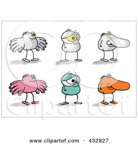 Royalty-Free (RF) Clipart Illustration of a Digital Collage Of Cartoon Body Part Characters - 1 by NL shop