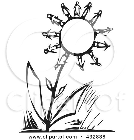 Royalty-Free (RF) Clipart Illustration of a Black And White Woodcut Styled Scene Of People As Flower Petals On A Big Flower by xunantunich