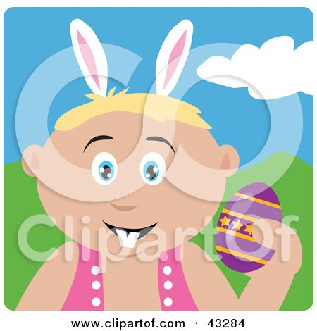 Clipart Illustration of a Caucasian Boy Wearing Bunny Ears And Holding An Easter Egg by Dennis Holmes Designs