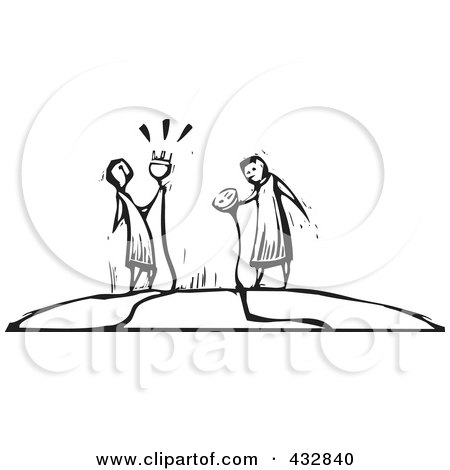 Royalty-Free (RF) Clipart Illustration of Black And White Woodcut Styled People Holding Electrical Cables by xunantunich
