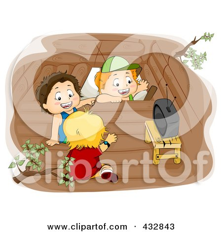 Royalty-Free (RF) Clipart Illustration of Three Boys Watching Tv In A Tree House by BNP Design Studio