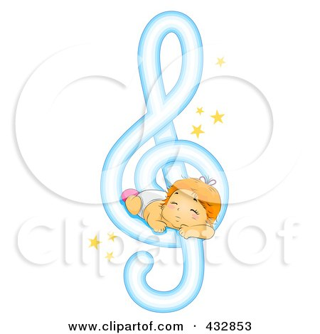 Royalty-Free (RF) Clipart Illustration of a Baby Sleeping On A Music Note by BNP Design Studio