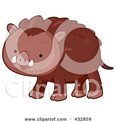Royalty-Free (RF) Clipart Illustration of a Cute Wild Boar by BNP Design Studio