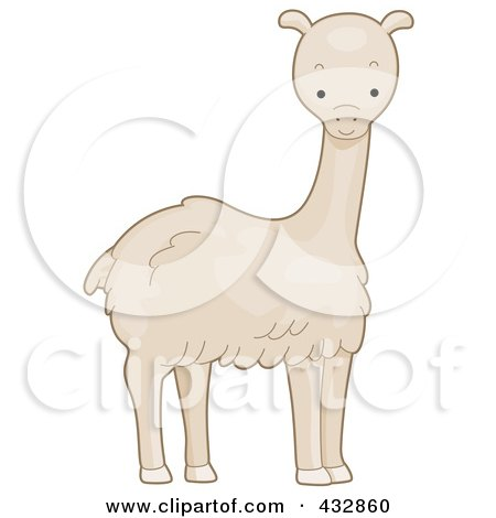 Royalty-Free (RF) Clipart Illustration of a Cute White Llama by BNP Design Studio