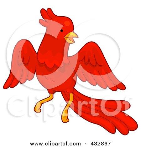 Clipart of a Fiery Phoenix Bird Rising from a Torch on Blue ...