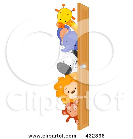 Royalty-Free (RF) Clipart Illustration of Cute Animals Looking Around A Door by BNP Design Studio