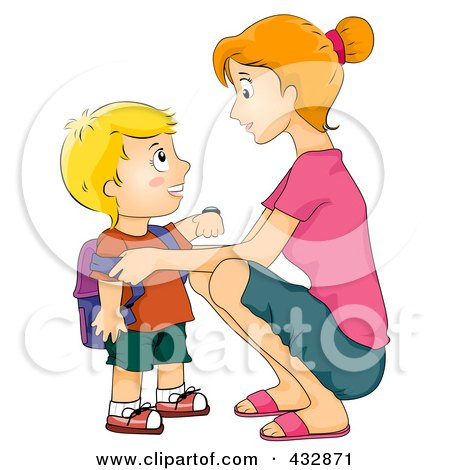 Royalty-Free (RF) Clipart Illustration of a Mother Crouching To Say Goodbye To Her School Boy by BNP Design Studio