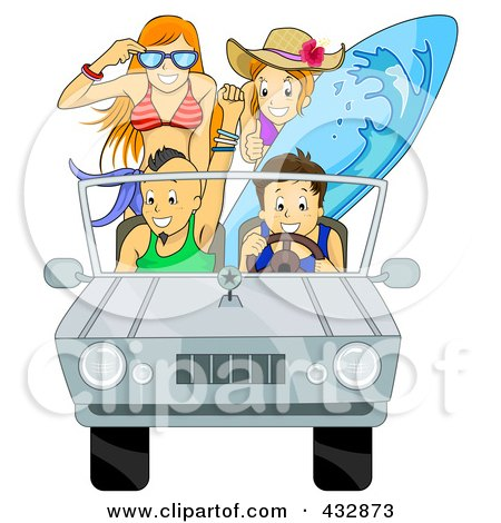 Royalty-Free (RF) Clipart Illustration of a Car Full Of Happy Summer Teenagers Going To The Beach by BNP Design Studio