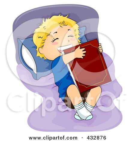 Royalty-Free (RF) Clipart Illustration of a Happy Boy Hugging A Bed Time Story Book On His Bed by BNP Design Studio