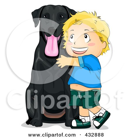 Royalty-Free (RF) Clipart Illustration of a Happy Boy Hugging His Black Lab Dog by BNP Design Studio