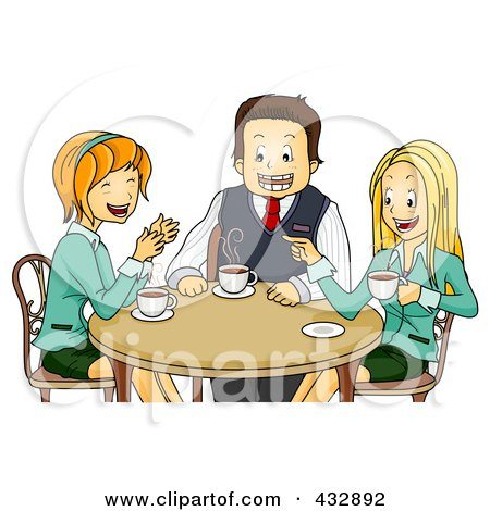 Royalty-Free (RF) Clipart Illustration of Happy Colleagues Chatting During A Coffee Break by BNP Design Studio