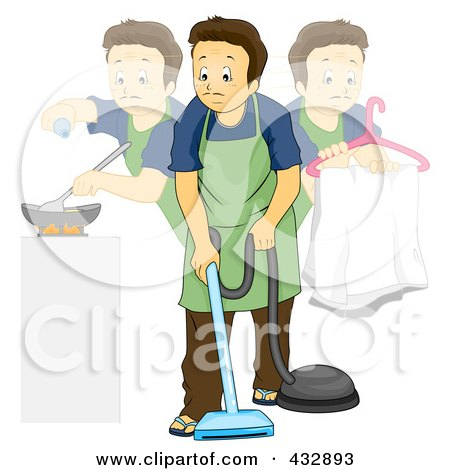 Royalty-Free (RF) Clipart Illustration of a Stay At Home Dad Doing Multiple Chores by BNP Design Studio