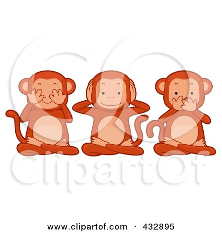 Royalty-Free (RF) Clipart Illustration of Three Monkeys Covering Their Eyes, Ears And Mouth by BNP Design Studio