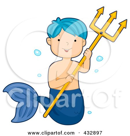 Royalty-Free (RF) Clipart Illustration of a Blue Haired Mermaid Boy Holding A Trident by BNP Design Studio